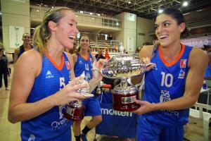 Marta Xargay y Marta Fernández celebrando el título de Supercopa