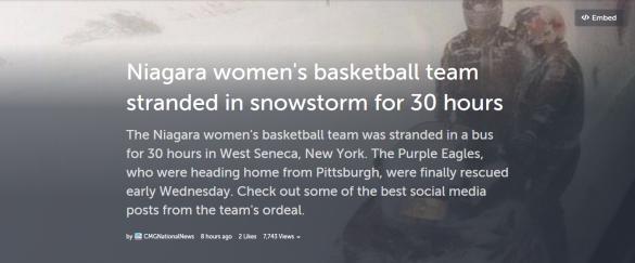 Storify con los tweets de las jugadoras de Niagara Unversity atrapadas en una tormenta de nieve