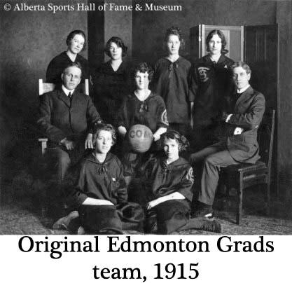 Primer equipo de Edmonton Grads. 1915.