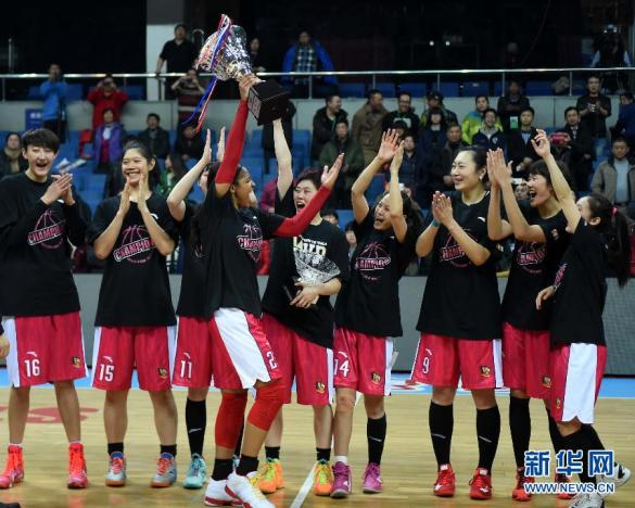 Shanxi Rui Flame celebrando su tercera liga de manera consecutiva.