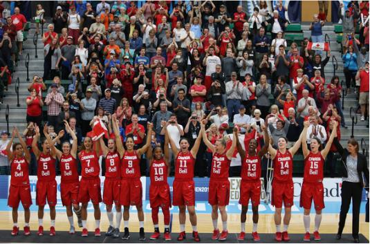 Selección de Canadá celebrando la victoria en el FIBA Americas