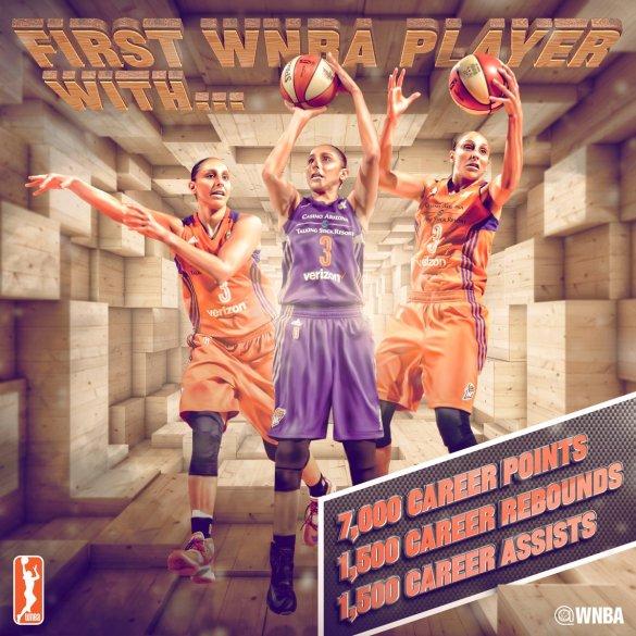 Diana Taurasi, primera jugadora de la WNBA en conseguir 7.000 puntos, 1.500 rebotes y 1.500 asistencias