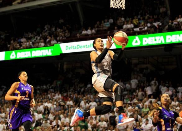 Maya Moore en un partido de las WNBA Finals e 2017