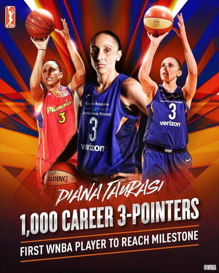 Diana Taurasi, primera jugadora de la WNBA en anotar 1000 triples